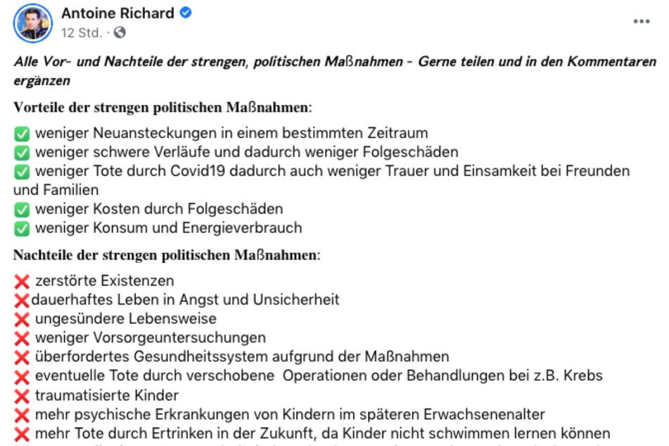Antoine Richard (43) hat bei Facebook eine fragliche Liste geteilt. Der Screenshot zeigt nur einen kleinen Teil davon.