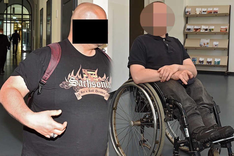 Bewährungsbrecher Robert K. (30, links) erschien im T-Shirt einer Neonazi-Band zum Prozess. Felix Lötsch (27 rechts) erlitt bei dem Angriff eine Platzwunde.