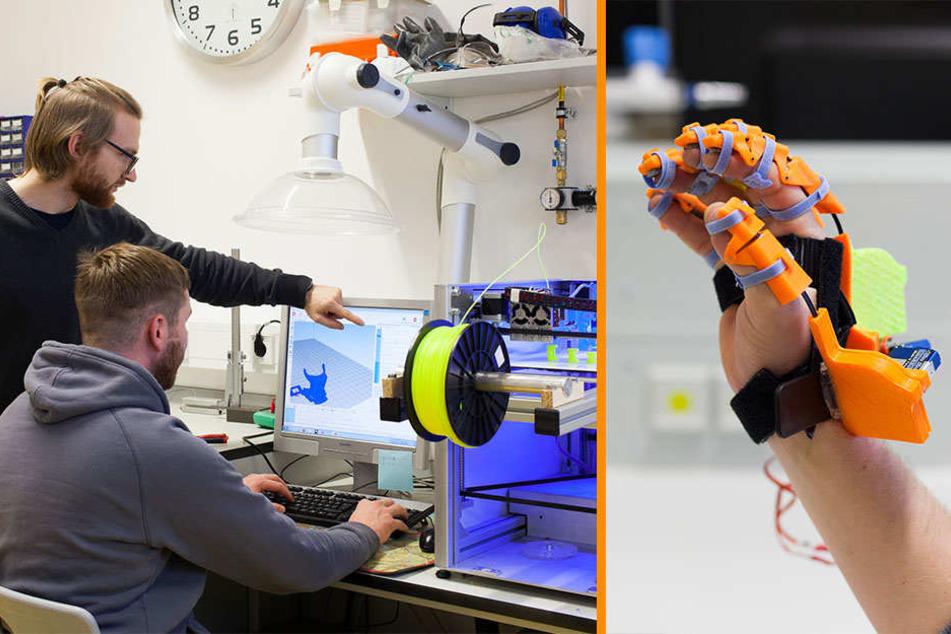 """li: Hier werden die 3D-Teile erstellt. re: Fast wie ein Spielzeug- So sieht die """"Exohand"""" aus."""