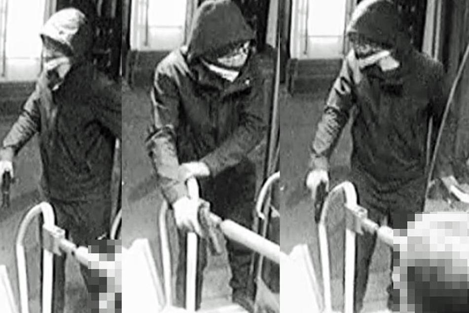 Die Montage zeigt drei Screenshots des Videos, mit dem die Polizei nach dem Täter fahndet.