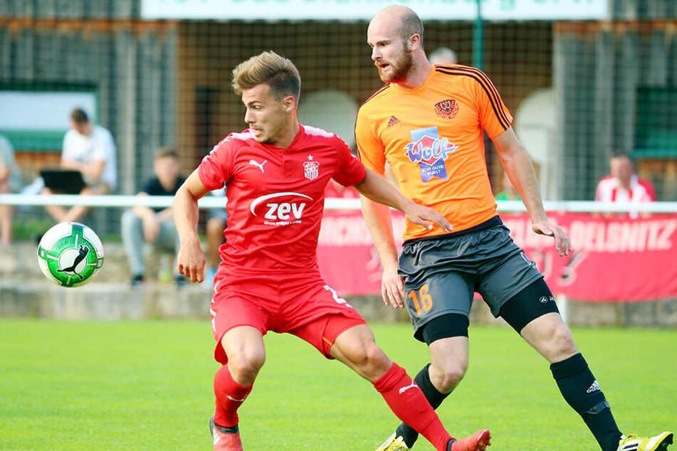 Beim 7:0 gegen Wismut Gera gab Sinan Tekerci (l.) sein Debüt im FSV-Trikot. Rechts Geras Sebastian Dräger.