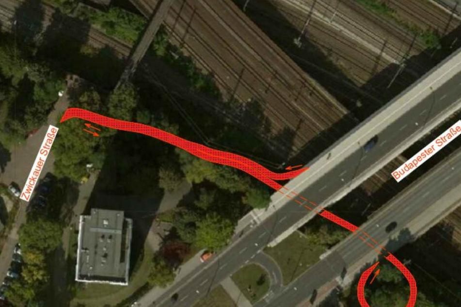 So könnte der Radschnellweg an der Zwickauer Straße an die Budapester Straße angebunden werden.