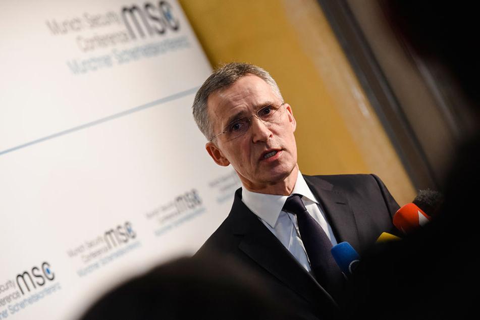 Nato-Generalsekretär Jens Stoltenberg bei der 54. Münchner Sicherheitskonferenz im Hotel Bayerischer Hof.
