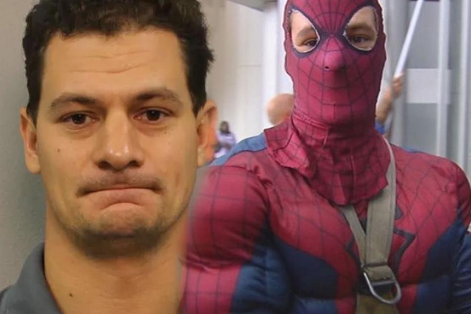Er putzt als Spiderman Fenster, doch niemand weiß, was sich hinter der Verkleidung verbirgt