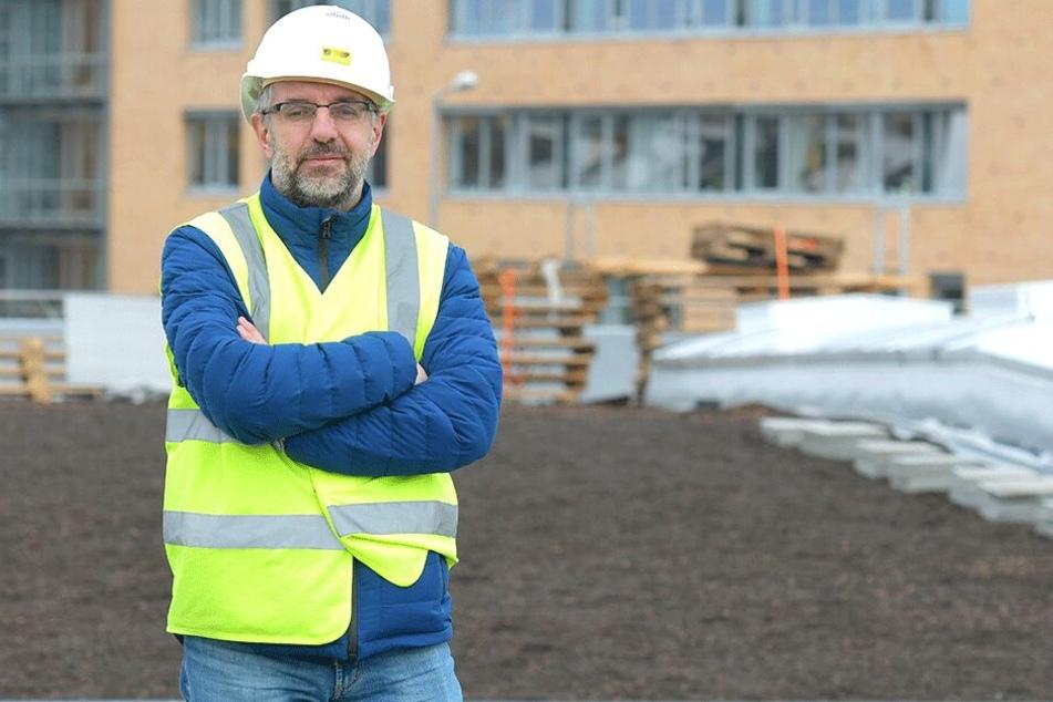 Liegt im Zeitplan: DVB-Bauleiter Steffen Lohmann (43).