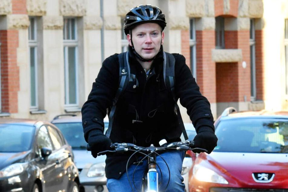 Christoph Blödner (37, FDP) fordert an der Wernerstraße sichere Radwege.