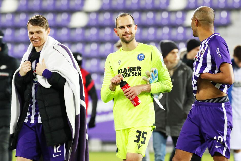 Kennen sich allesamt aus der Jugend von Hertha BSC: Steve Breitkreuz (29, l.) spielte in der U23 regelmäßig mit dem heutigen Zweitliga-Ausnahmekeeper Marius Gersbeck (25, KSC, M.) und Louis Samson (25, r.) zusammen.