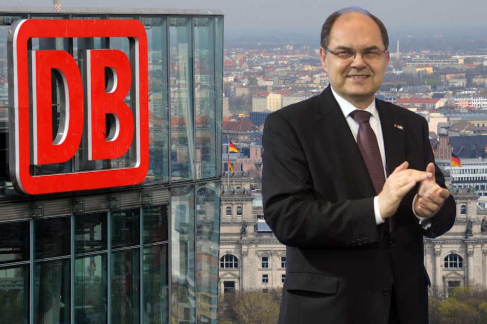 Zieht es Ex-Bundesminister Christian Schmidt (60, CSU) zur Deutschen Bahn. (Bildmontage)