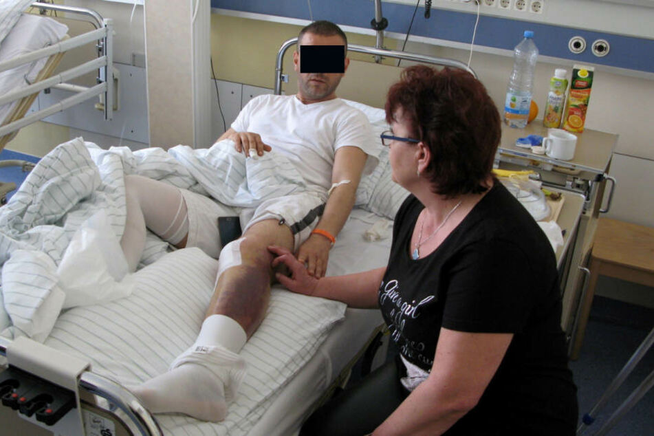 Der verletzte Hatem K. und seine Frau Simona im Krankenhaus.