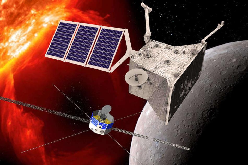 Eine grafische Darstellung der beiden Orbiter von BepiColombo am Planeten Merkur.