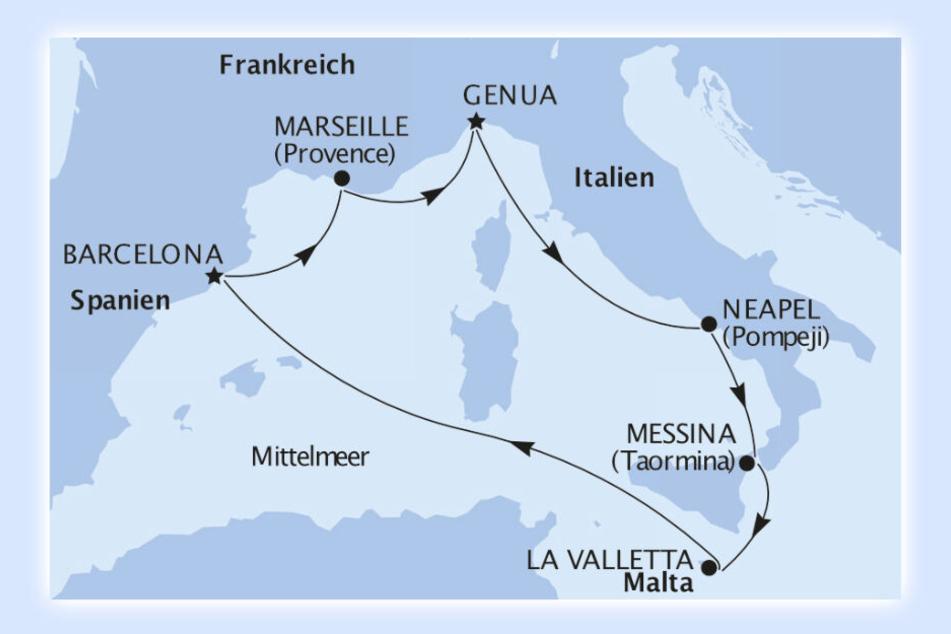 Start und Ankunft ist in der italienischen Küstenstadt Genua.