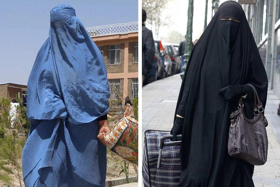 Nikab (re.) und Burka dürfen in den Niederlanden in der Öffentlichkeit nahezu nicht mehr getragen werden.