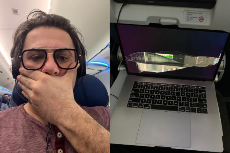 Fluggast schiebt seine Sitzlehne zurück und zerstört damit das MacBook eines anderen Passagiers