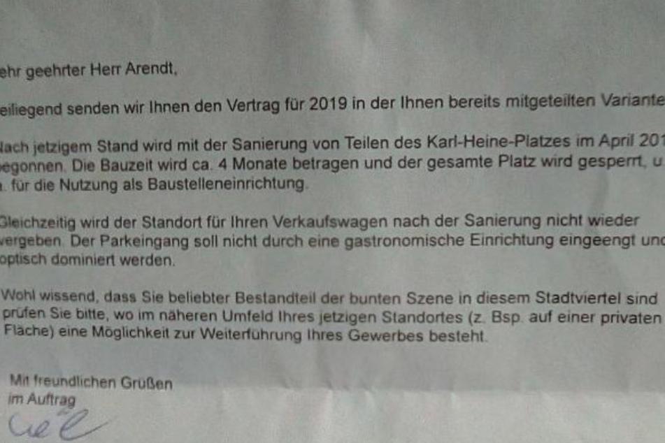 Dieser Bescheid vom Amt für Stadtgrün und Gewässer flatterte Ende November bei Arendt und Glissmann ein und schlägt vor allem dem 61-Jährigen arg auf den Magen.