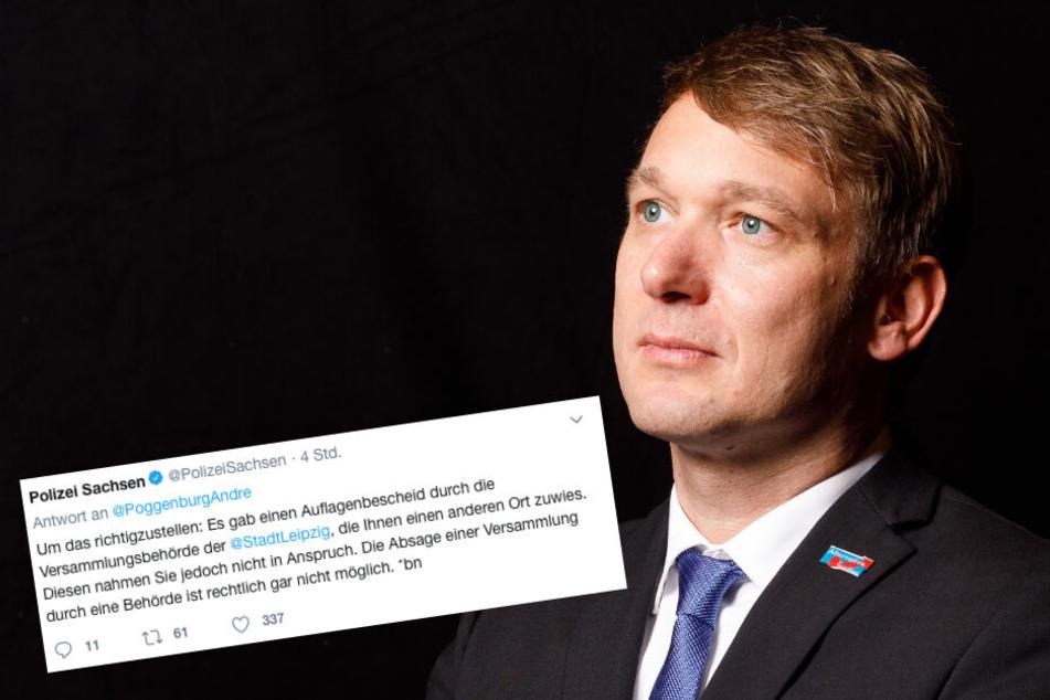 André Poggenburg hat auf Twitter versucht, die Absage seiner AdP-Demo als einen Sieg darzustellen. Am Ende musste sich sogar die Polizei einschalten.
