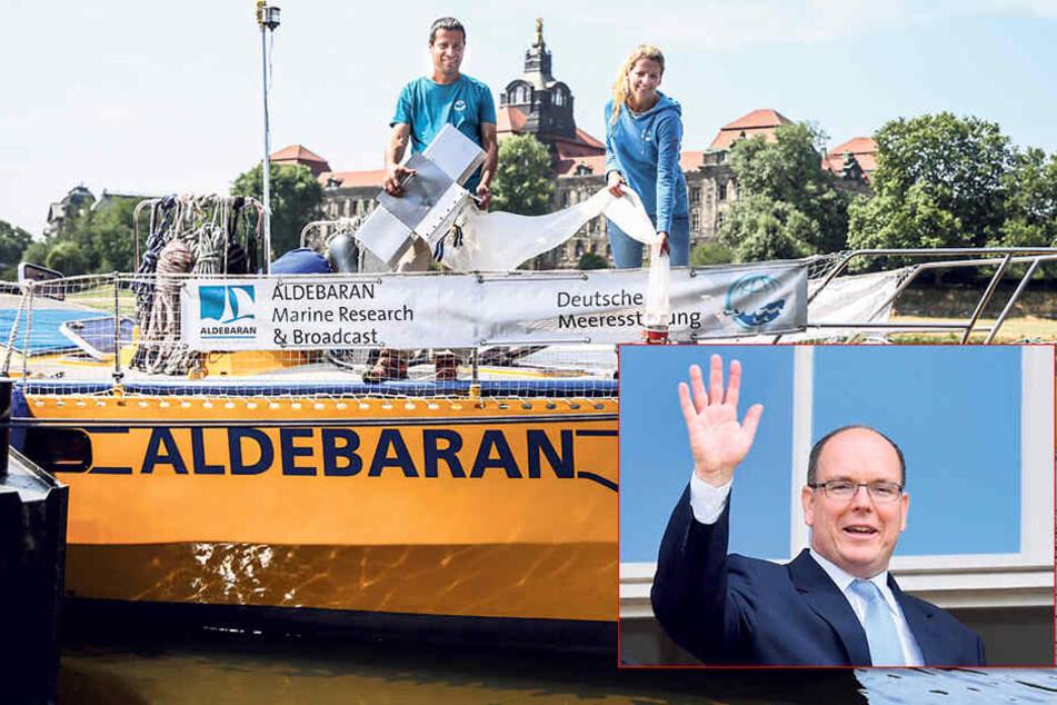 Der monegassische Fürst Albert II. (60, kleines Foto) kommt erst Freitag zur Preisverleihung nach Dresden. Am Elbe-Anleger 17 ankert bereits das Forschungsschiff. Am Samstag schippert er nach Hamburg weiter.