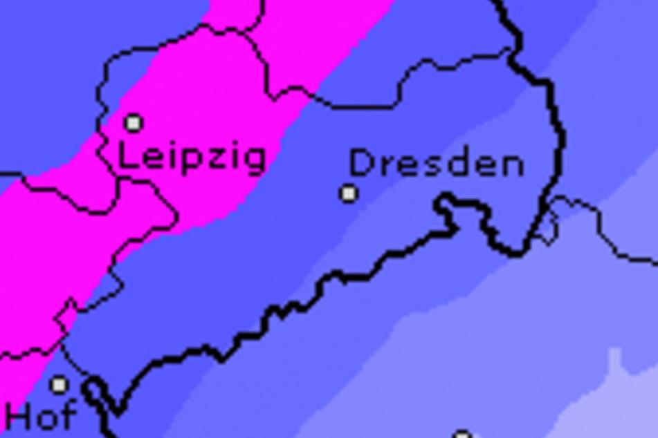 Für Samstag sind in ganz Sachsen starke Regenfälle vorhergesagt, nachts kann der Regen in Schnee übergehen.
