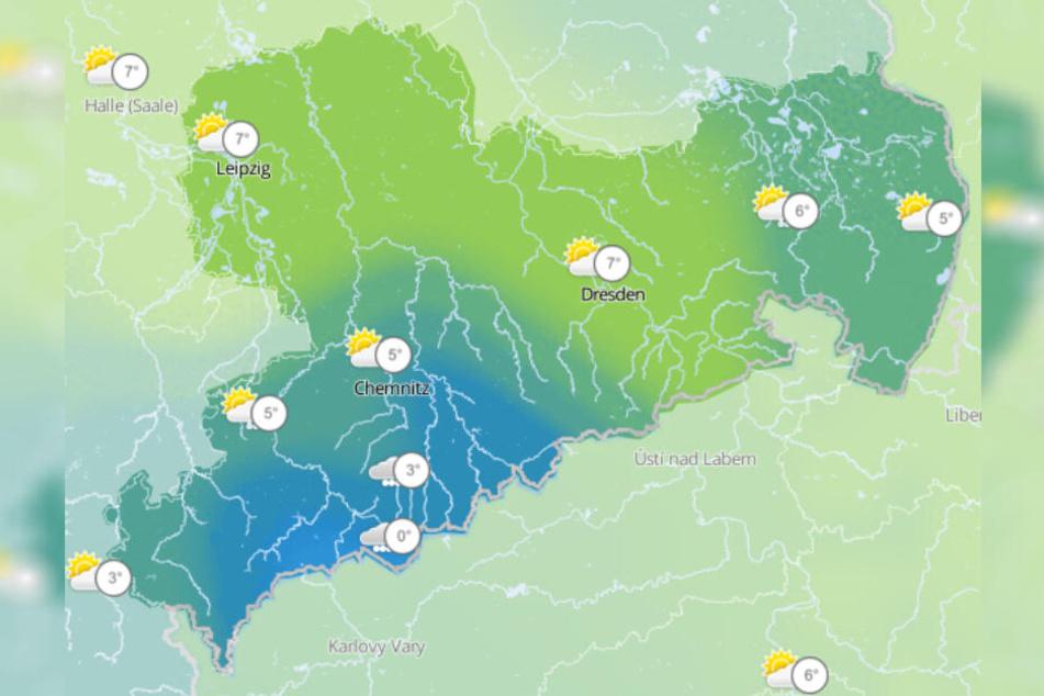 In Sachsen lässt der Sturm nach. Die Temperaturen liegen in weiten Teilen zwischen sechs und neun Grad.