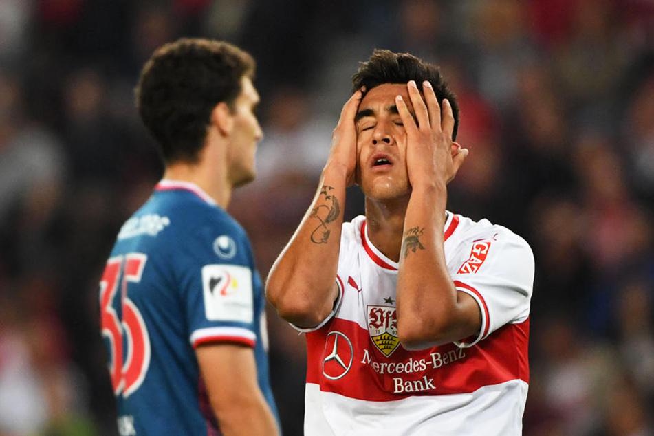 Verzweifelt wie die Fans an der Chancenverwertung des VfB: Stuttgart-Stürmer Nicolás González.