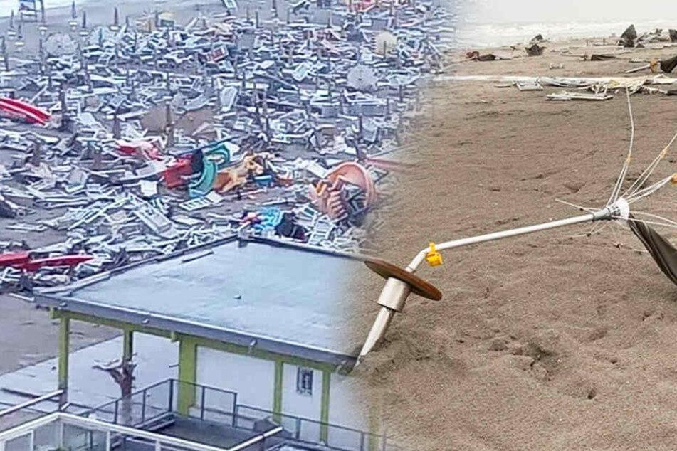 Die Strände des beliebten Urlaubsortes an der Adria wurden komplett verwüstet.