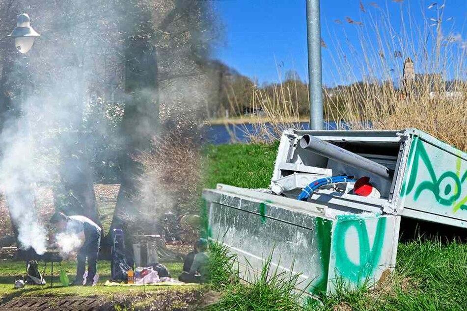 Wegen Vandalen: Brunnen am Schlossteich bleiben aus