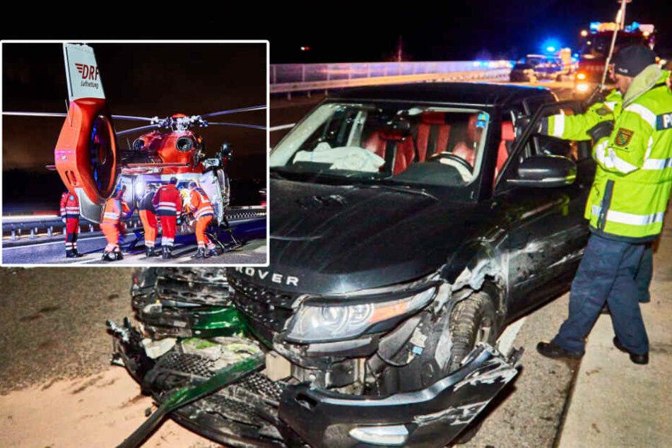 70.000 Euro Schaden! Schwerer Unfall auf A17 bei Bahretal, zwei Schwerverletzte