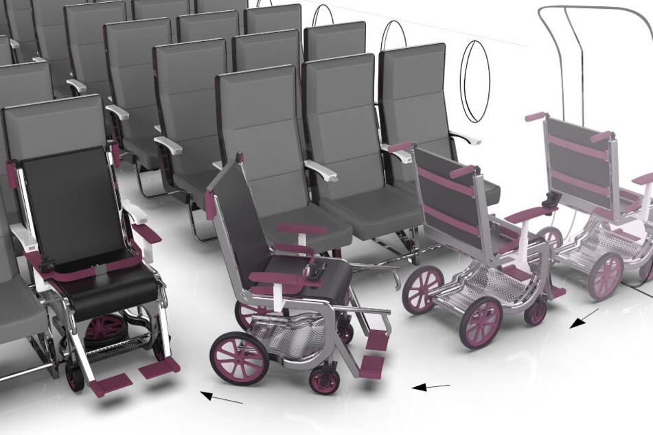 Reisende mit Rollstuhl sollen diesen schon bald im Flugzeug bei sich führen können.