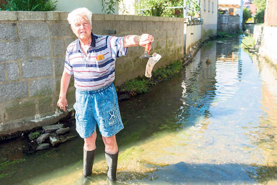 Der Pulsnitzer Wolfgang  Schirrmeister (81) ärgert sich über Kloaken-Abfälle in der Pulsnitz wie diese gebrauchte Binde.