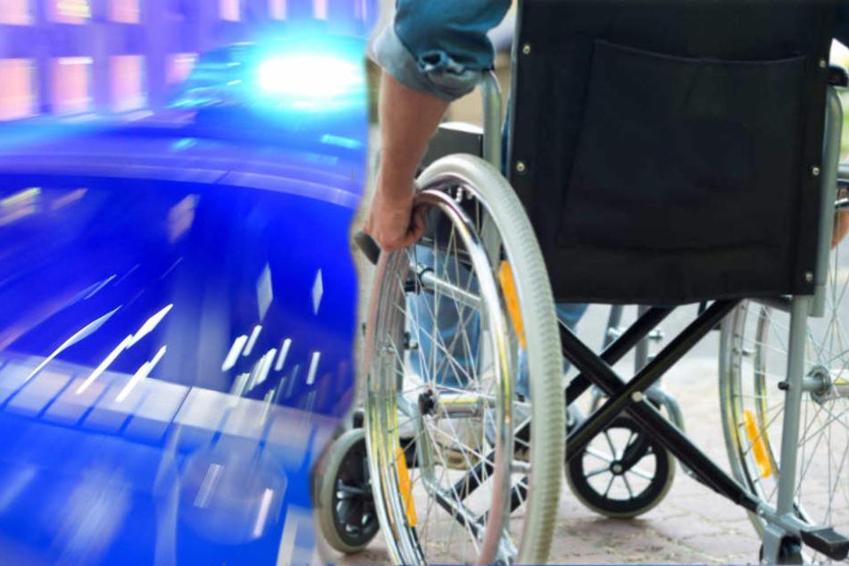Obwohl er auf dem Gehweg war, wurde ein Rollstuhlfahrer von einem Auto erfasst. (Bildmontage)