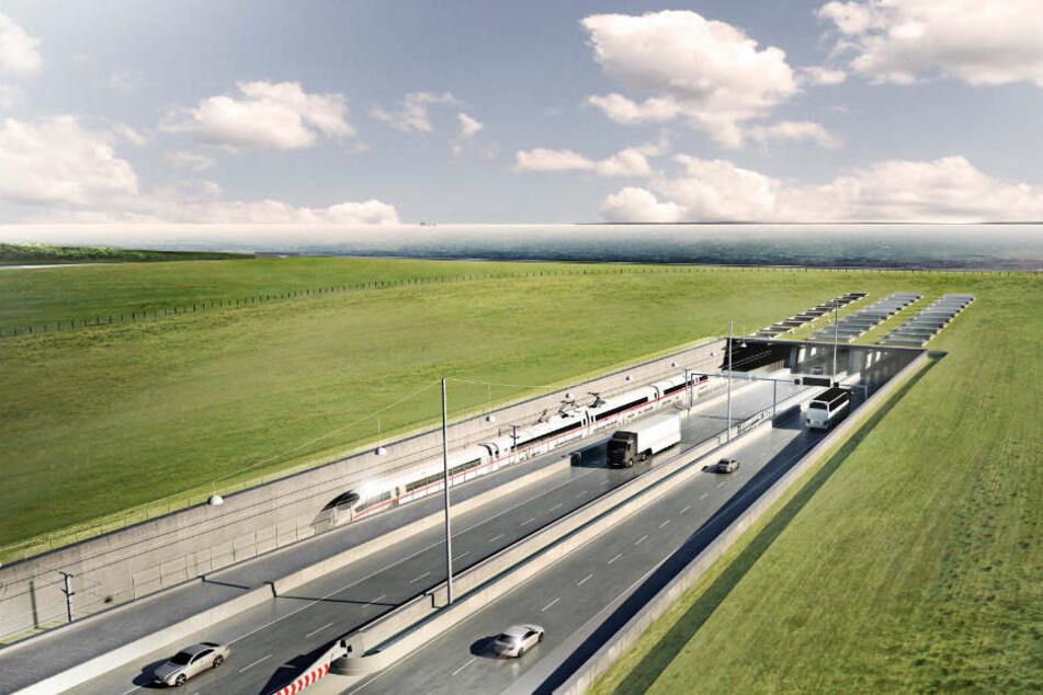 Grafische Visualisierung des geplanten Fehmarnbelt-Tunnels zwischen Deutschland und Dänemark.
