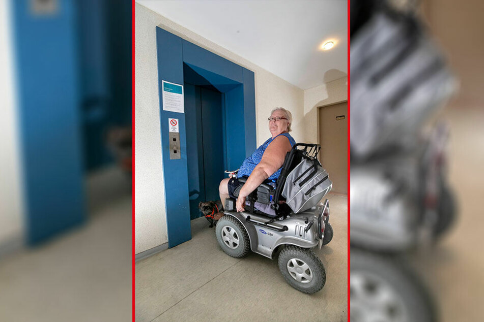 Gefangen in der Platte: Rollstuhlfahrerin Elisabeth John (63) kann seit zwei Wochen nicht mehr raus.