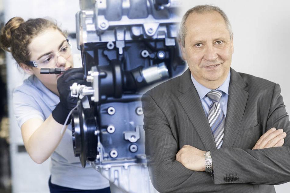 Verdrängt E-Mobilität die in Sachsen ge- und verbauten Verbrennungsmotoren? Sachsens Arbeitgeberpräsident Jörg Brückner sieht schwere Zeiten auf die Autoindustrie im Freistaat zukommen.