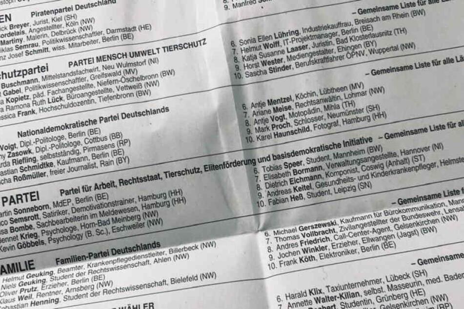 Der Wahlschein zur Europawahl trägt Namen wir Göbbels und Heß.