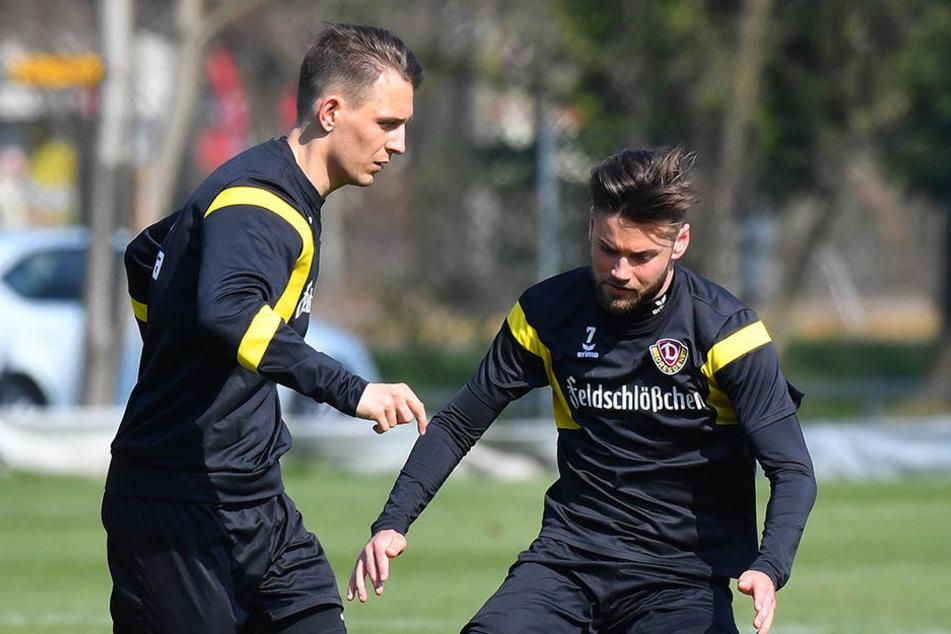 Wachs (links) stieg im März wieder ins Mannschaftstraining bei Dynamo ein.