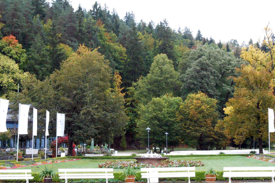 Der Kurpark am Badplatz in Bad Elster.