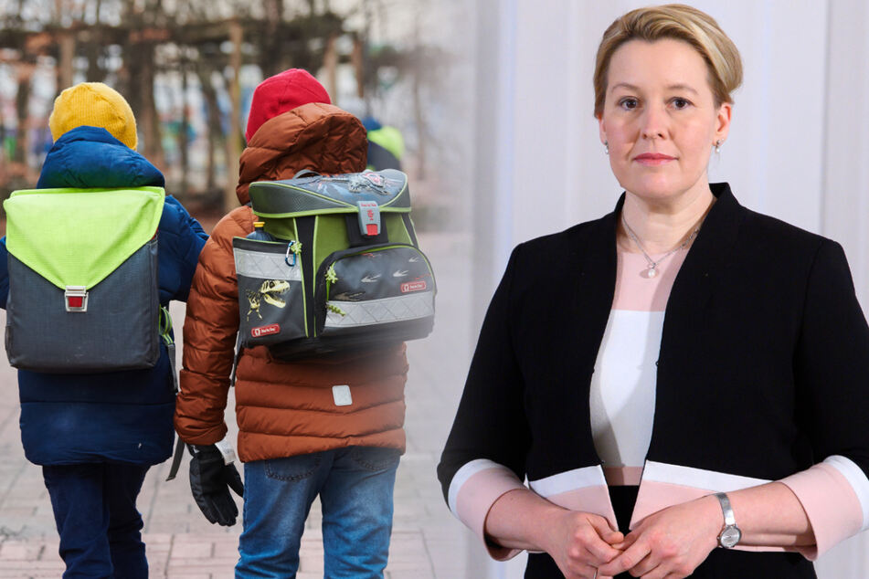 Franziska Giffey (43, SPD) möchte eine frühere Rückkehr in den Präsenzunterricht prüfen. (Bildmontage)