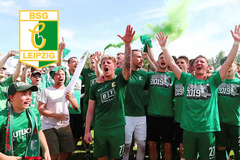 So ausgelassen feierte Chemie Leipzig den Aufstieg mit Tausenden Fans