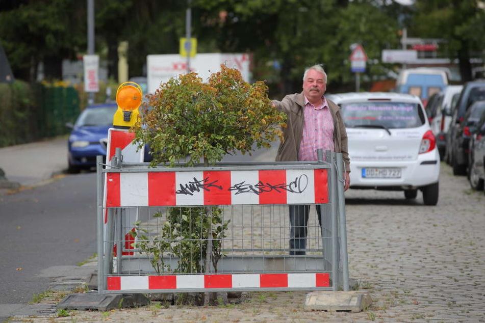Anwohner Frank Richter (66) zeigt den Rosen-Protest an der umzäunten Mini-Baustelle auf der Riesaer Straße.