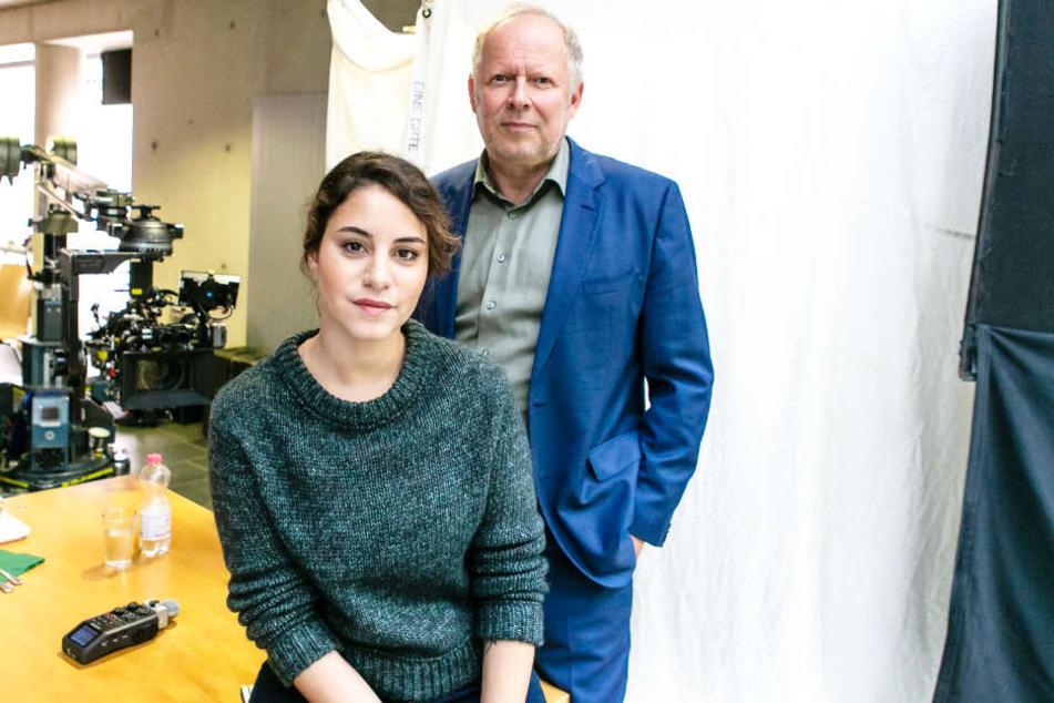 """Die Schauspieler Almila Bagriacik (29) und Axel Milberg drehen derzeit in Kiel eine neue """"Tatort""""-Folge."""