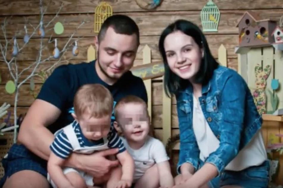 Da war die Familienwelt noch in Ordnung: Dmitry und Margarita mit den beiden Söhnen.