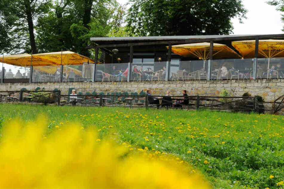 """Der Biergarten der """"Elbterrasse Laubegast"""" in Dresden."""