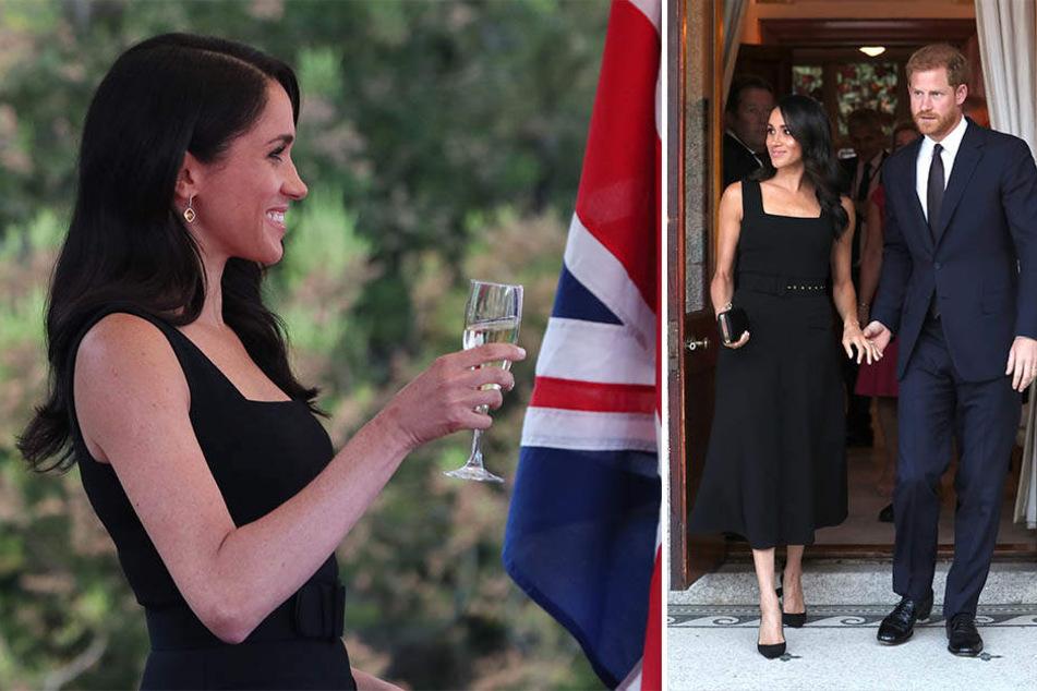 An ihrem ersten Abend in Dublin entschied sich Meghan für ein schwarzes Abendkleid, das vielen zu freizügig geschnitten war.