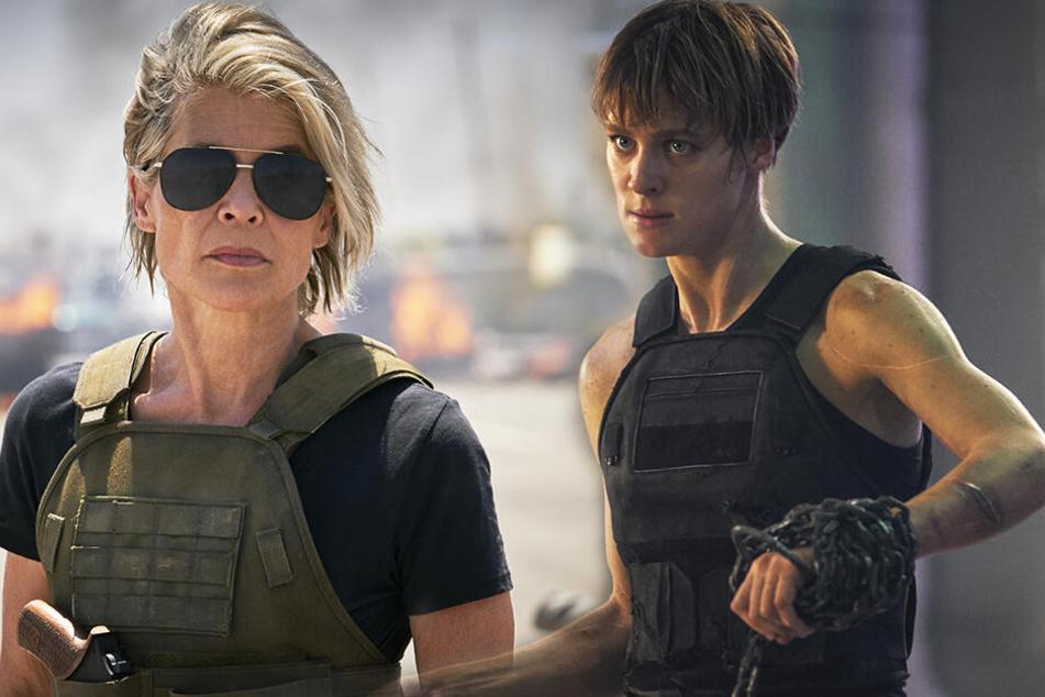Sarah Connor (Linda Hamilton) rettet ihr jüngeres Ebenbild Grace (Mackenzie Davis) vor den neuen Terminatoren. (Bildmontage)