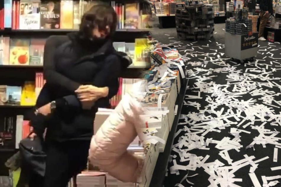 Chaos in Kölner Buchhandlung: Mann wirft Tausende Zettel!