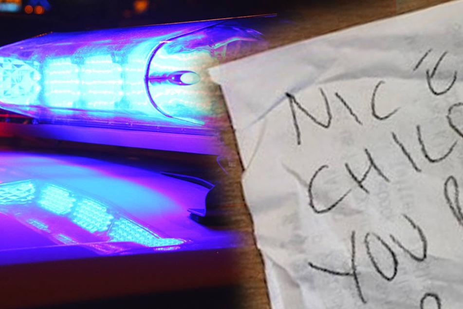 Polizisten kommen von Einsatz wieder und finden diesen Zettel an der Windschutzscheibe