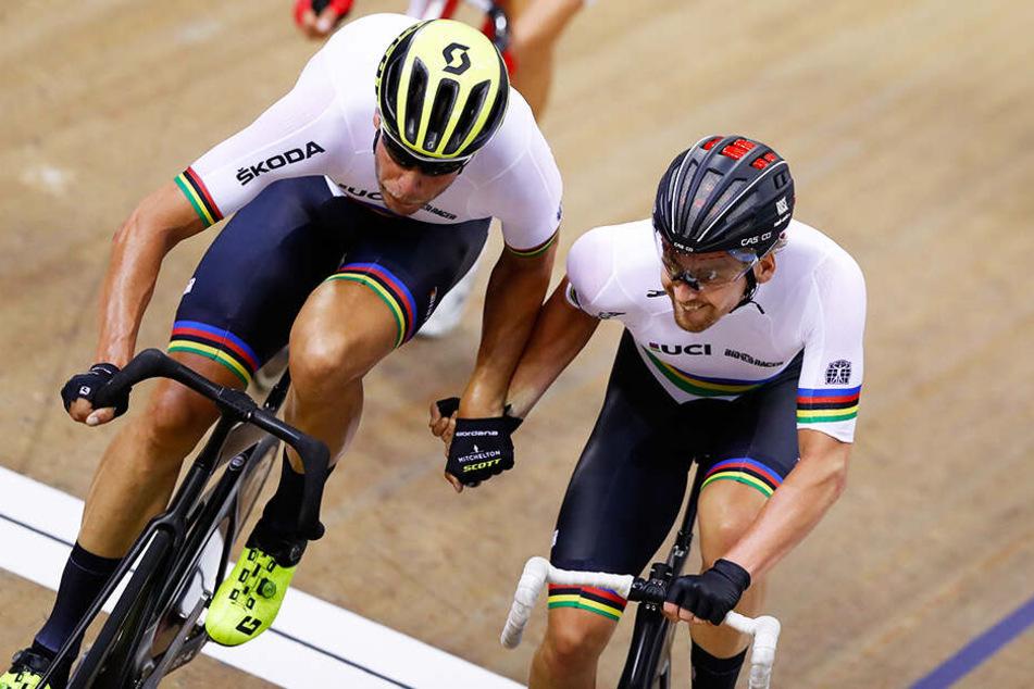 Roger Kluge (l.) und Theo Reinhardt (r.) gewannen gemeinsam in buchstäblich letzter Sekunde das 108. Berliner Sechstagerennen. (Symbolbild)