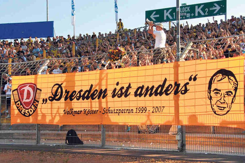 Bei den Dynamo-Fans genossen Volkmar Köster und sein Dresden-Spruch Kultstatus.