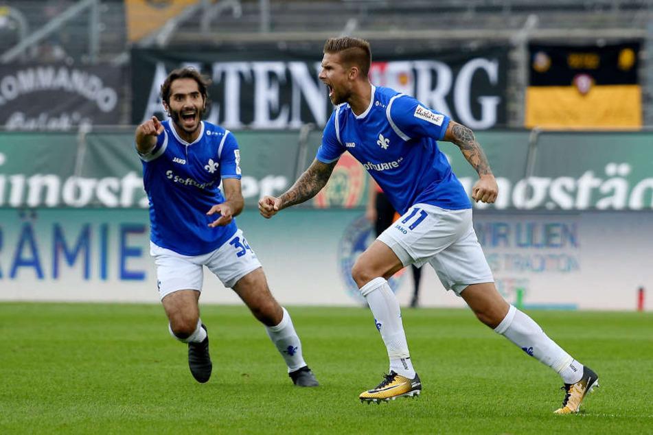 Ex-Dynamo Tobias Kempe (rechts) sorgte für das zwischenzeitliche 1:1.