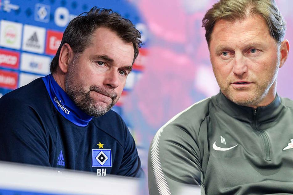 Bernd Hollerbach (l., Hamburger SV) und RB Leipzig-Trainer Ralph Hasenhüttl (r.).