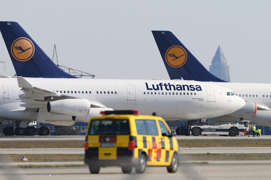 Passagiermaschinen der Lufthansa parken auf der Nordwest-Landebahn am Frankfurter Flughafen.